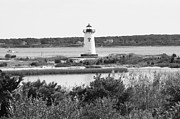 White Lighthouse Prints - Edgartown Lighthouse - Black and White Print by Carol Groenen