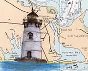 Massachusetts Coast Paintings - Edgartown Lighthouse MA Nautical Chart Map Art by Cathy Peek