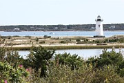 New England Lighthouse Prints - Edgartown Lighthouse with Wildflowers Print by Carol Groenen
