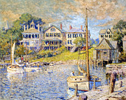 Green Boat Prints - Edgartown  Marthas Vineyard Print by Colin Campbell Cooper