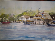 Boats In Harbor Originals - Edgartown yacht club by Tom Steiner
