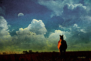 Photomanipulation Photo Prints - Edge of Night Print by Karen Slagle