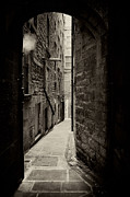Brick Streets Framed Prints - Edinburgh alley sepia Framed Print by Jane Rix