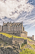 Oil Digital Art Framed Prints - Edinburgh Castle Painting Framed Print by Antony McAulay