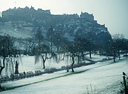 Princes Posters - Edinburgh Castle - snow shower Poster by Phil Banks