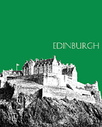 Edinburgh Skyline Edinburgh Castle - Forest Green Print by DB Artist