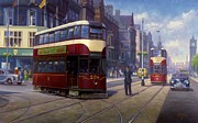 Streetscene Paintings - Edinburgh tram 1953. by Mike  Jeffries