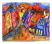 Chimneys Pastels Posters - Edinburghs Royal Mile  Poster by Karen Larter