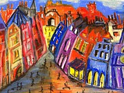 Chimneys Drawings Prints - Edinburghs Royal Mile Print by Karen Larter