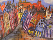 People Pastels Framed Prints - Edinburghs Royal Mile Original Framed Print by Karen Larter