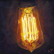 Electric Painting Framed Prints - Edison Bulb Framed Print by Ann Moeller Steverson