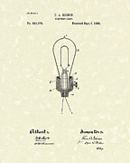 Edison Posters - Edison Electric Lamp 1882 Patent Art Poster by Prior Art Design