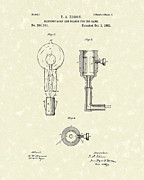 Edison Drawings Prints - Edison Lamp 1882 Patent Art Print by Prior Art Design