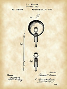 Old Light Bulb Posters - Edison Light Bulb Patent Poster by Stephen Younts