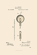 Edison Digital Art Posters - Edison Lightbulb Patent Poster by James Barnes