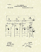 System Drawings Framed Prints - Edison Lighting System 1891 Patent Art Framed Print by Prior Art Design
