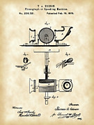 Edison Digital Art Posters - Edison Phonograph Patent Poster by Stephen Younts
