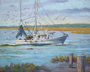 South Carolina Low Country Marsh Paintings - Edisto Shrimp Boat by Todd Baxter
