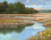 South Carolina Low Country Marsh Paintings - Edisto Study 4 by Todd Baxter