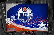 Oilers Framed Prints - Edmonton Oilers Christmas Framed Print by Joe Hamilton