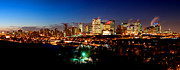 Edmonton Framed Prints - Edmonton Winter Sunset Skyline  Framed Print by Terry Elniski