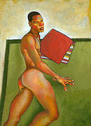 Male Figure Prints - Eduardo on Green Blanket Print by Douglas Simonson