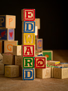 Alphabet Metal Prints - EDWARD - Alphabet Blocks Metal Print by Edward Fielding