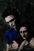 Vetro Glass Art Posters - Edward and Bella Poster by Betta Artusi