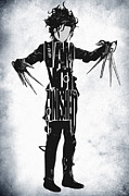Burton Framed Prints - Edward Scissorhands - Johnny Depp Framed Print by Ayse T Werner