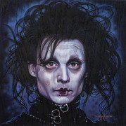 Celebrity Portrait Paintings - Edward Scissorhands by Tim  Scoggins