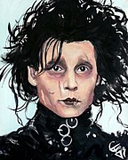 Burton Framed Prints - Edward Scissorhands Framed Print by Tom Carlton