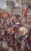 Edward V Rides Into London With Duke Print by Charles John de Lacy