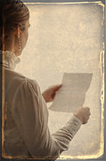 Love Letter Posters - Edwardian Woman Reading A Letter Poster by Lee Avison