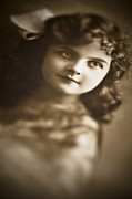 Curly Haired Posters - Edwardian Young Girl Poster by Jan Bickerton