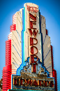 Fashion Metal Prints - Edwards Big Newport Theatre Sign in Newport Beach Metal Print by Paul Velgos