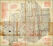 Old Map Paintings - Edwards railroad map of San Francisco 1874 by MotionAge Art and Design - Ahmet Asar