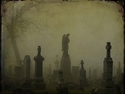 Graveyard Digital Art - Eerie Darkness In The Fog by Gothicolors And Crows