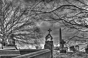 Headstones Framed Prints - Eerie Graveyard Framed Print by Jennifer Lyon