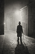Foggy Street Scene Acrylic Prints - Eerie Victorian Man  Standing On A Foggy Cobbled Street At Night Acrylic Print by Lee Avison