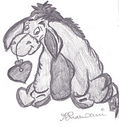 Cuddly Drawings Prints - Eeyore with Heart Print by Melissa Vijay Bharwani