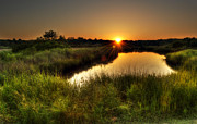 Sunset Posters Prints - Egans Creek Sunset Print by  Island Sunrise and Sunsets Pieter Jordaan
