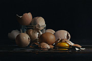 Realist Paintings - EGG AND SHELLS no.5  by Larry Preston