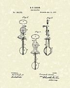 Breakfast Drawings Prints - Egg Beater 1877 Patent Art Print by Prior Art Design