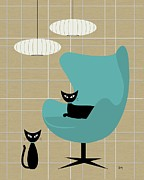 Mid Century Lamp Posters - Egg Chair Poster by Donna Mibus