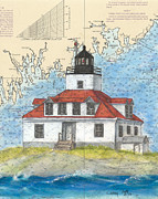 New England Lighthouse Paintings - Egg Rock Lighthouse ME Nautical Chart Map Art by Cathy Peek