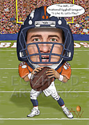 Broncos Mixed Media Framed Prints - Egghead Caricature of Peyton Manning Framed Print by By AW