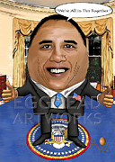 Caricature Mixed Media Prints - Egghead Caricature of President Barack Obama Print by By AW