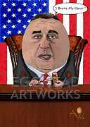 Caricature Mixed Media Prints - Egghead Caricature of Speaker John Boehner Print by By AW