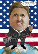 Senate Mixed Media Prints - Egghead Caricature of the US Secretary of State John Kerry Print by By AW