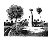 Pen And Ink Framed Prints Prints - Eggmont Key Lighthouse  Print by Buzz Coe
